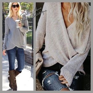 Relaxed Wrap Criss Cross Sweater Cream